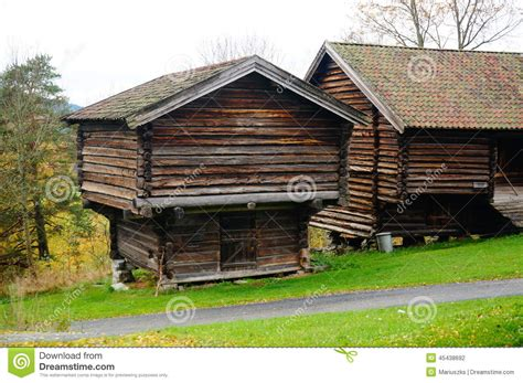 Two Norwegian Wooden Farm Barn For Hay Stock Photo - Image