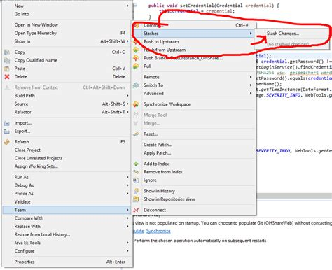 eclipse - Unable to find stash/apply functionalitit in