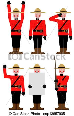 Illustration of a mountie in different poses