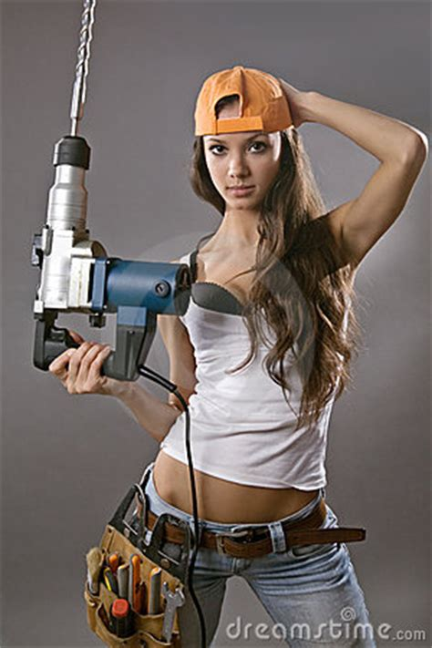 Sexy Young Woman Construction Worker Royalty Free Stock