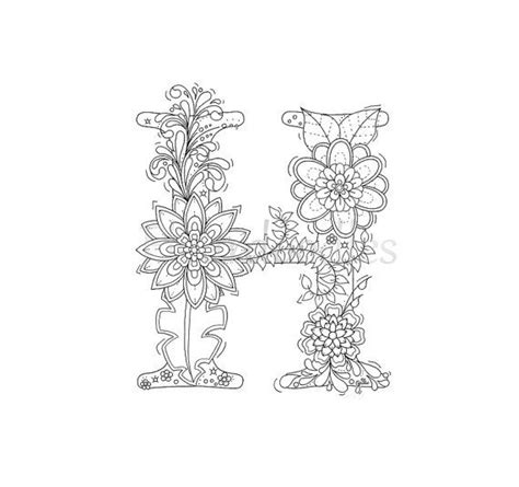 adult coloring page - floral letters, alphabet H, hand