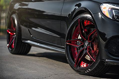 20 Inch Staggered Rims (Black and Red) - FULL Set of 4